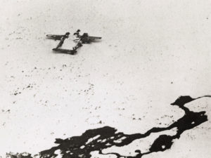Dad's image of his plane as he was rescued off the island 1945